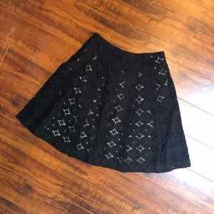 BANANA REPUBLIC Embroidered Flared Pleated Skirt